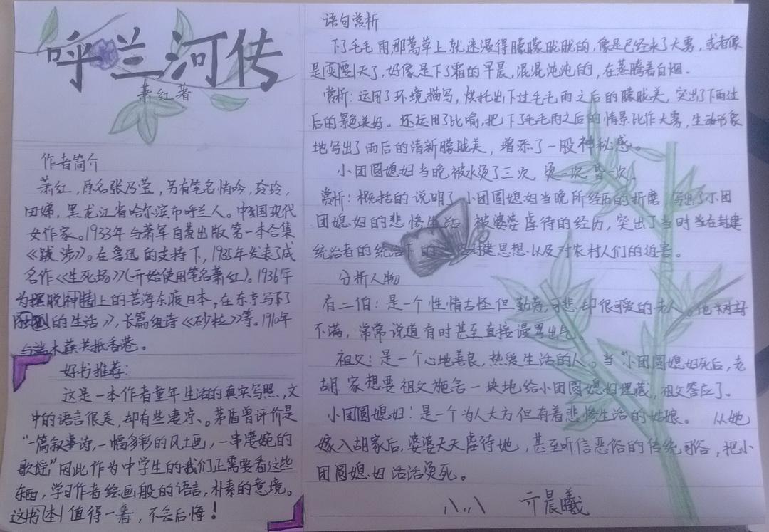 呼兰河传手抄报内容