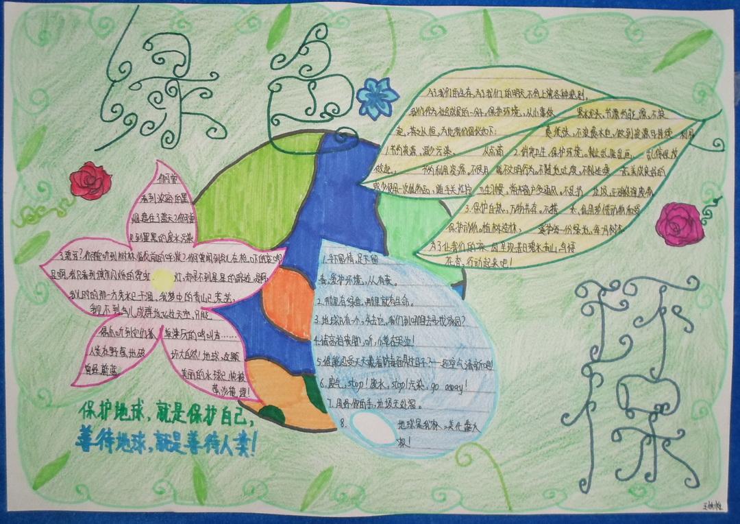 小学生绿色环保手抄报图片2张