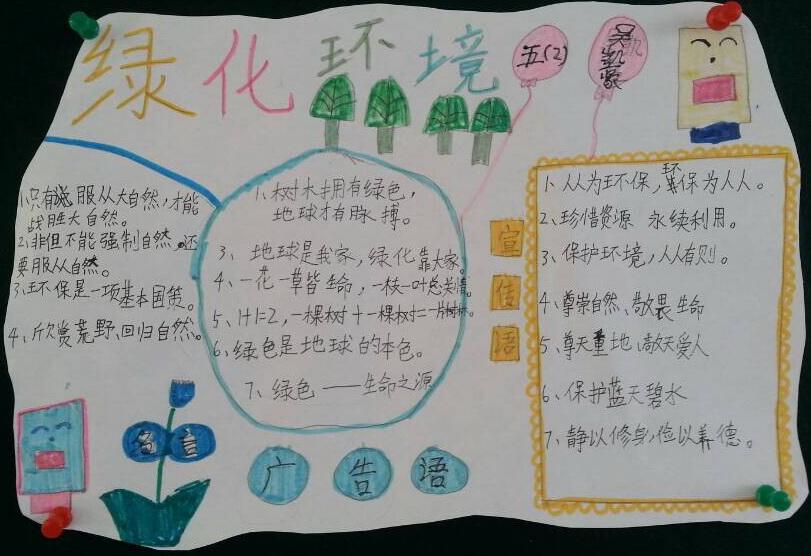 五年级绿化环境手抄报图片