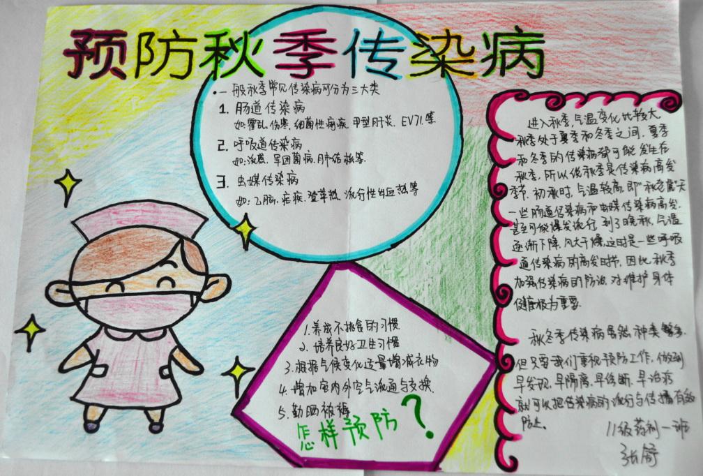预防秋季传染病手抄报图片大全