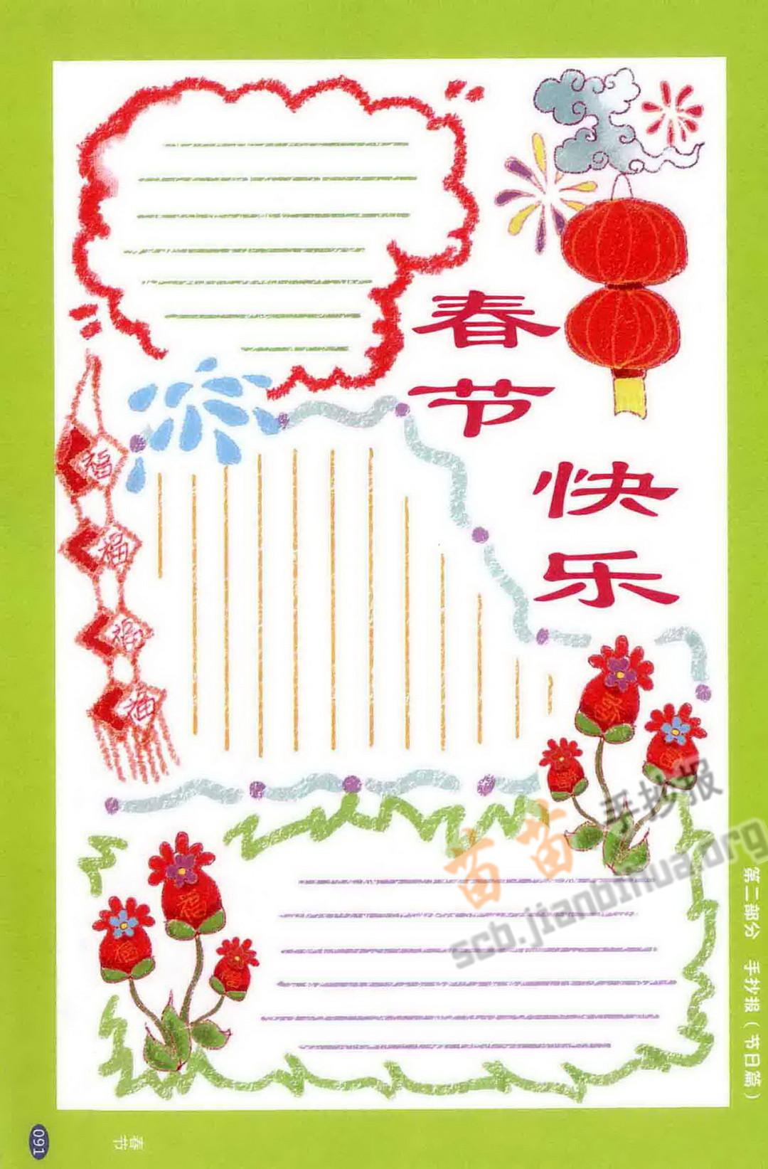 春节快乐手抄报图片