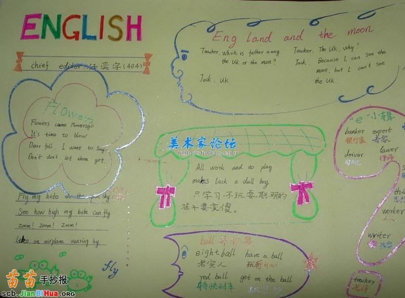 四年级英语手抄报模板